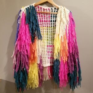 Jackets & Blazers - Multi-Color Fringe Sweater